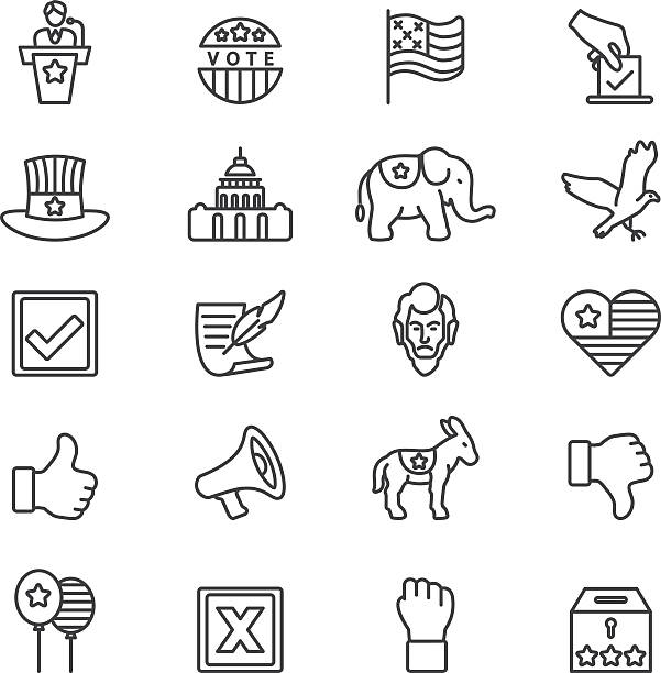 elections politics government democracy line icons | eps10 - presidential debate stock illustrations
