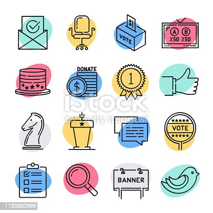 Modern elections and representation doodle style concept outline symbols. Line vector icon sets for infographics and web designs.