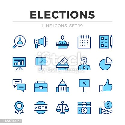 Elections vector line icons set. Thin line design. Modern outline graphic elements, simple stroke symbols. Voting icons