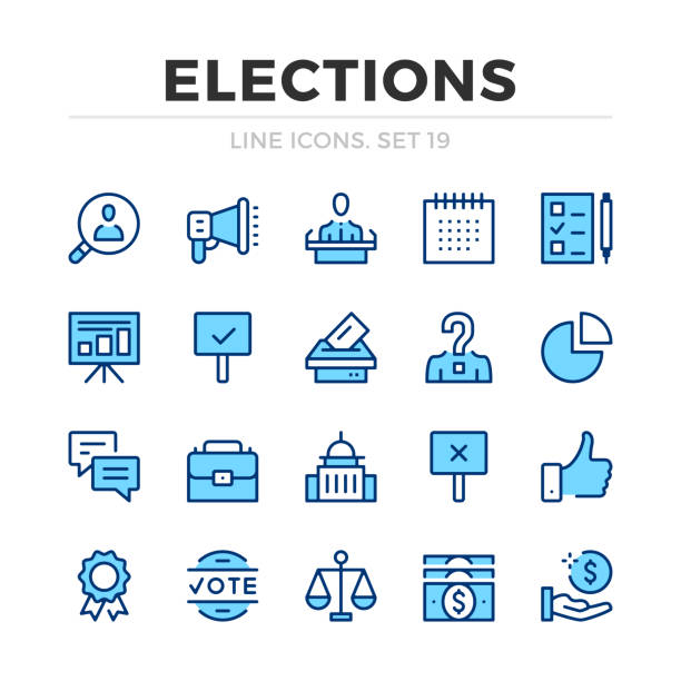 Elections vector line icons set. Thin line design. Modern outline graphic elements, simple stroke symbols. Voting icons Elections vector line icons set. Thin line design. Modern outline graphic elements, simple stroke symbols. Voting icons president stock illustrations