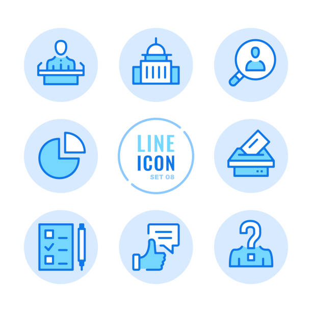 elections vector line icons set. voting, ballot box, exit poll, debates, political campaign outline symbols. linear, thin line style. simple stroke outline graphic elements for web design, websites, mobile app. round icons - presidential debate stock illustrations