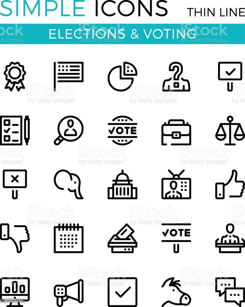 Élections, vote, vecteur de partis politiques mince ligne ensemble d'icônes. 32 x 32 px. Concepts de design graphique ligne moderne pour sites Web, conception de sites web, etc.. Pixel parfait vecteur contour icônes définies - Illustration vectorielle