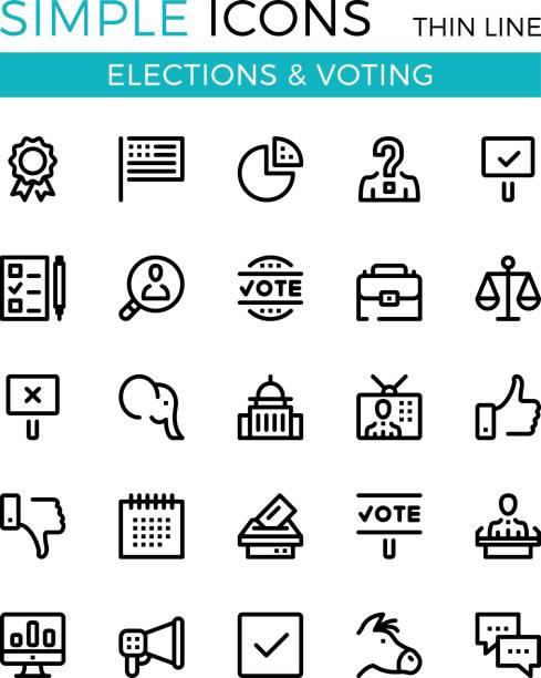 Elections, voting, political parties vector thin line icons set. 32x32 px. Modern line graphic design concepts for websites, web design, etc. Pixel perfect vector outline icons set vector art illustration