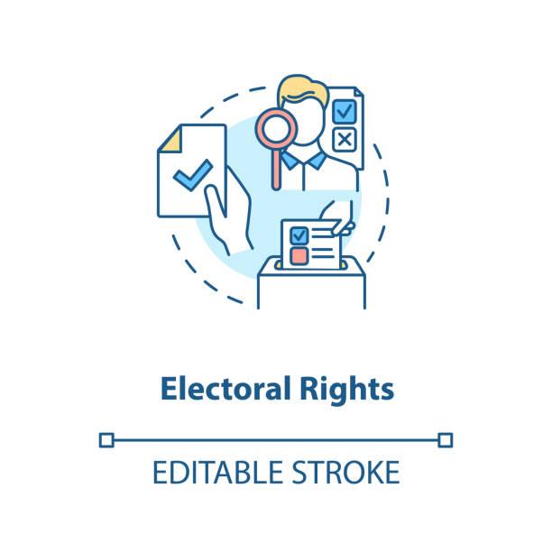ilustraciones, imágenes clip art, dibujos animados e iconos de stock de icono del concepto de derechos electorales - civil rights