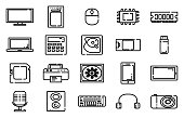 Electronic gadgets Thinline icons, Outline icons