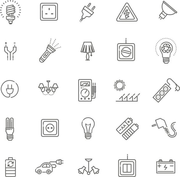 Electric accessories icons Electric accessories icons. Electricity, power and energy flashlight stock illustrations