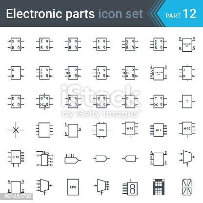 Elektrischen Und Elektronischen Schaltplan Symbole Satz Von ...
