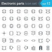 electric and electronic circuit diagram symbols set of digital electronics,  flip-flop, logic