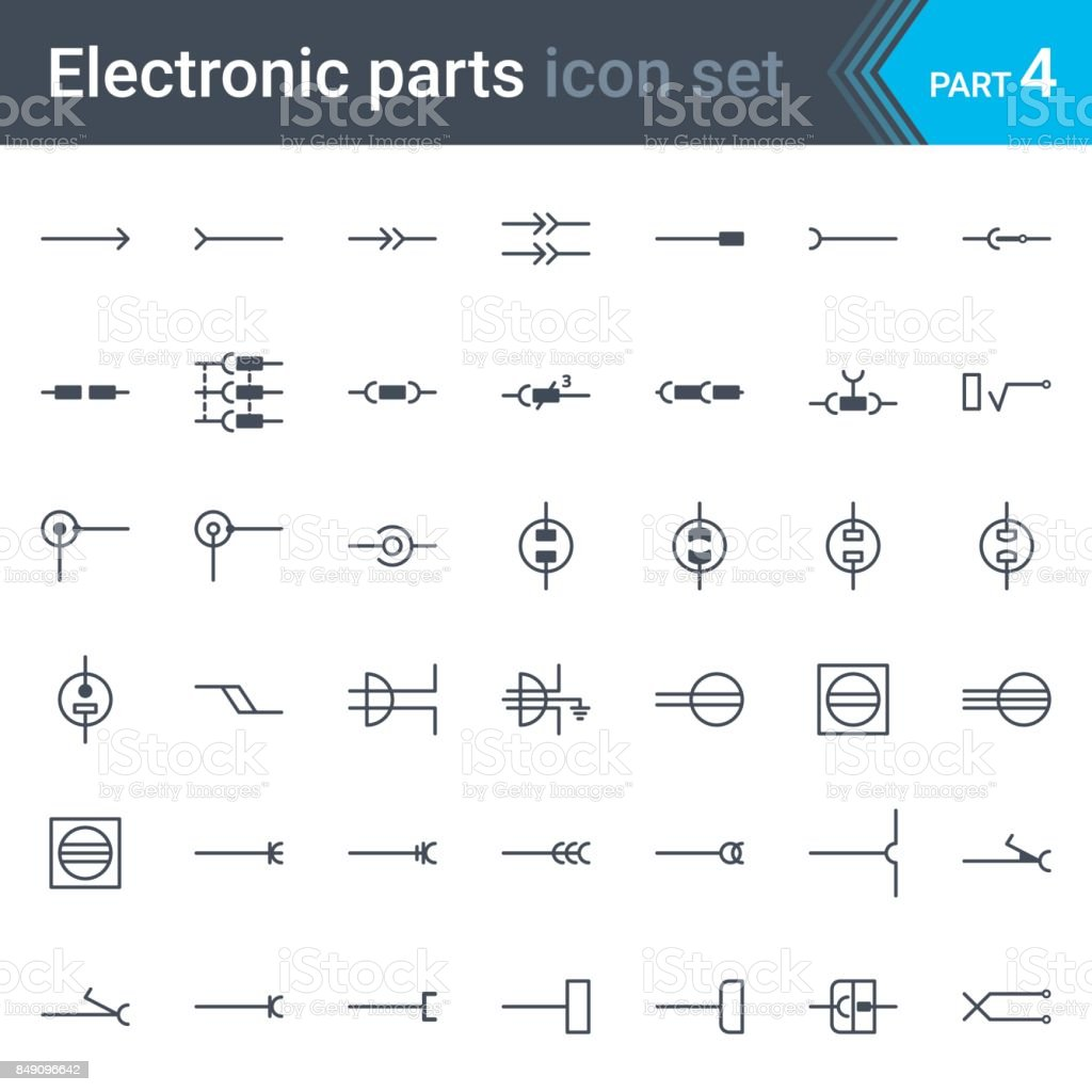 Electric And Electronic Circuit Diagram Symbols Set Of Electrical ...