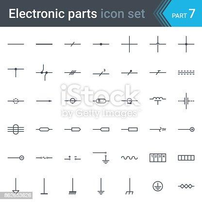 Elektrische Und Elektronische Schaltung Diagramm Symbole Reihe Von ...