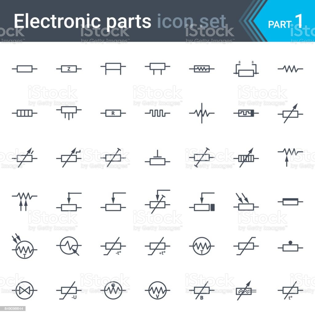 Electric and electronic circuit diagram symbols set of resistors  royalty-free electric and electronic circuit