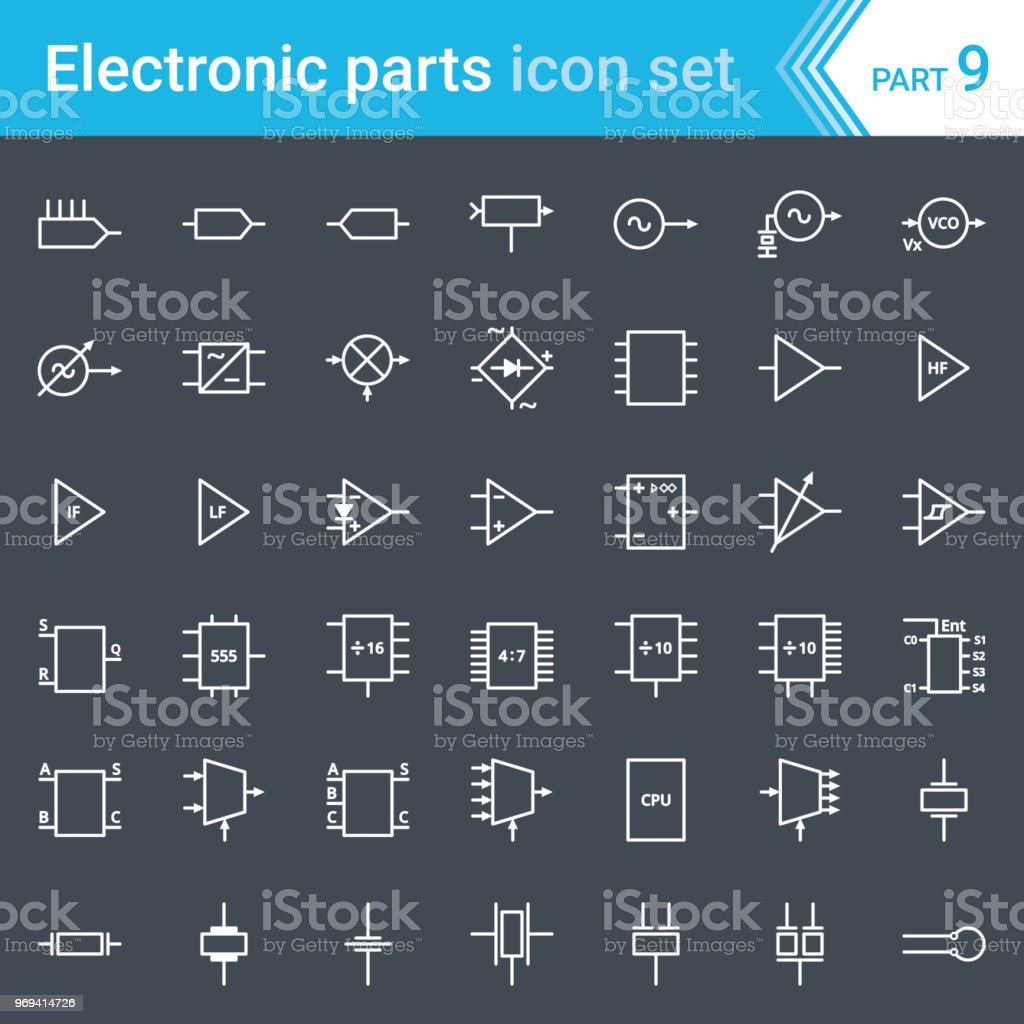 Electric And Electronic Icons Diagram Symbols Circuitry Oscillator Circuit Free Download Wiring Schematic Blocks Stages Amplifier