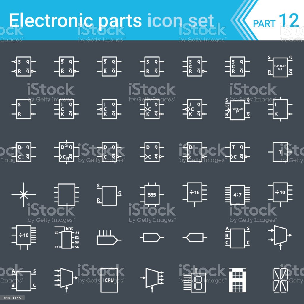 Electric and electronic icons, electric diagram symbols. Digital  electronics, flip-flop,