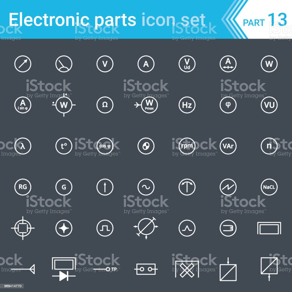 Electric And Electronic Icons Electric Diagram Symbols Electrical