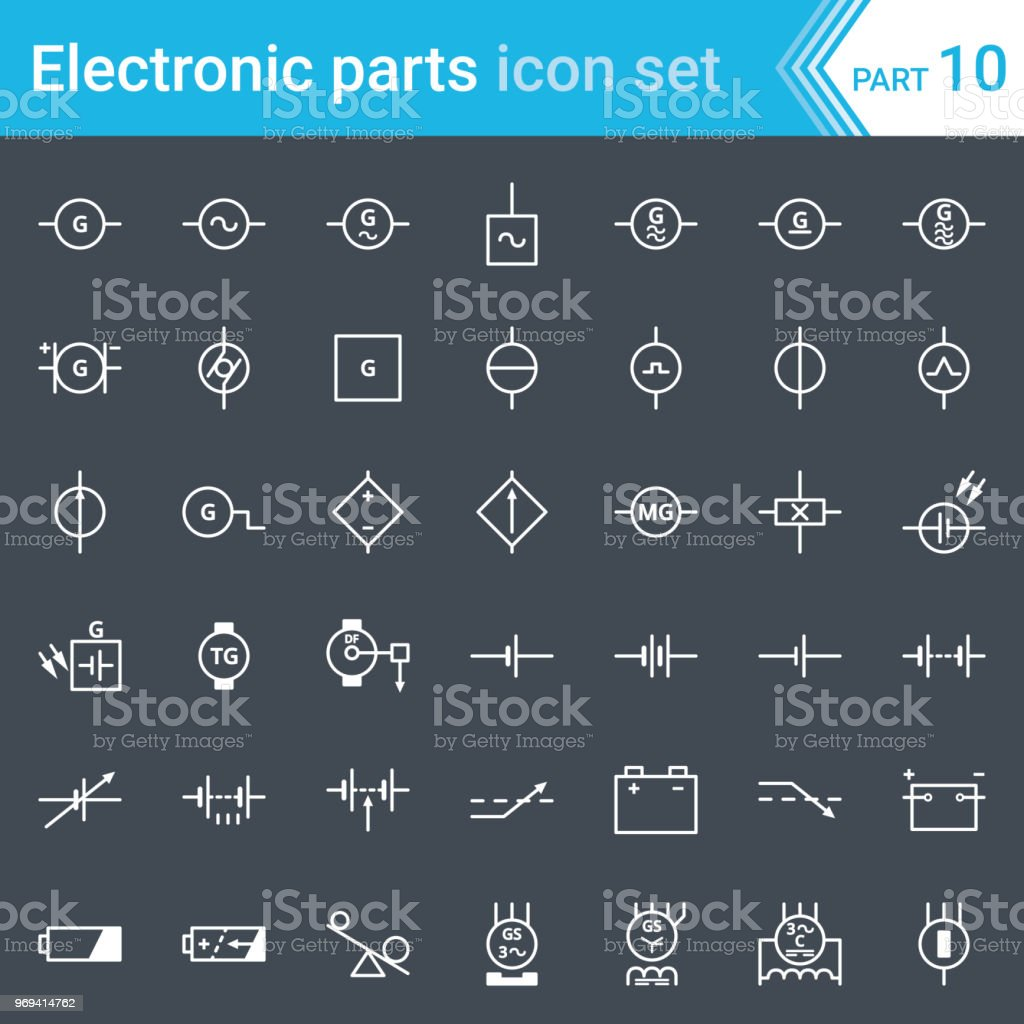 Electric and electronic icons, electric diagram symbols. Generator,  batteries, DC power supplies