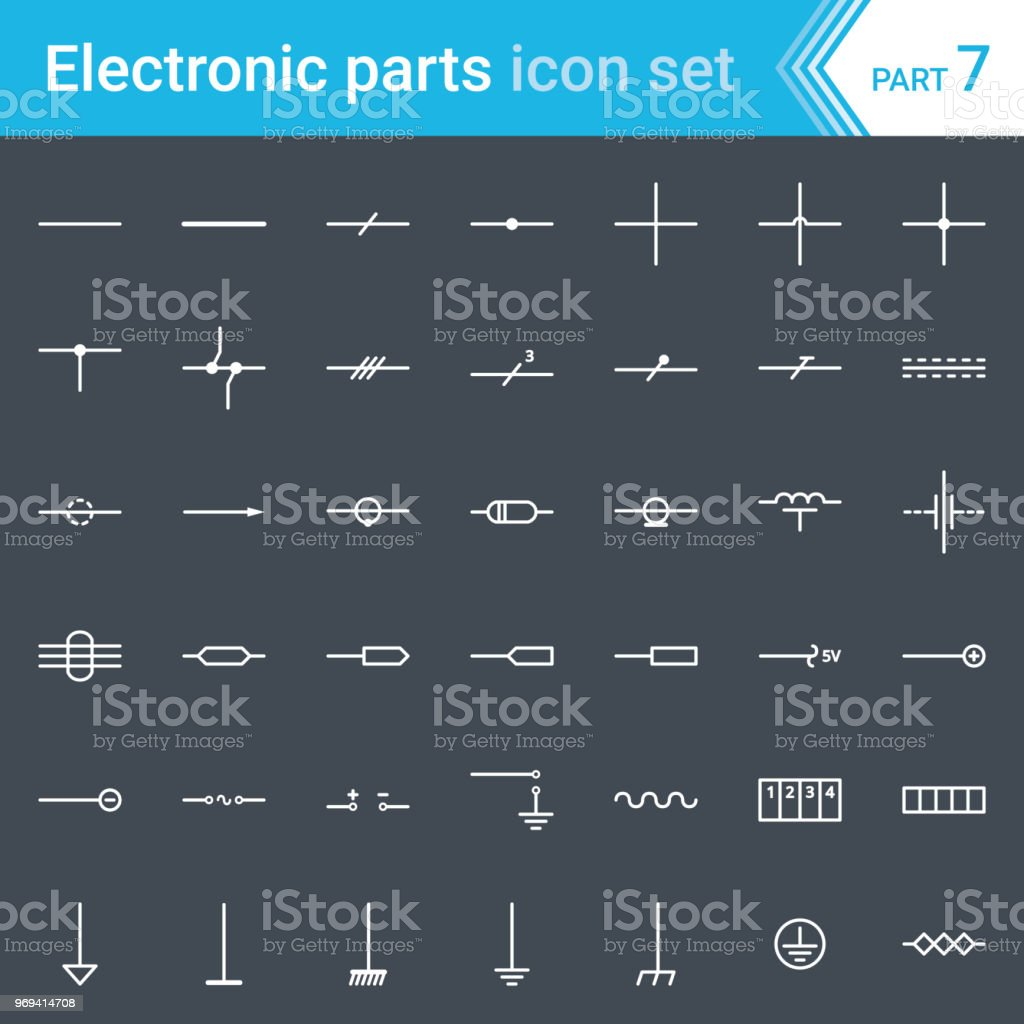 Electric And Electronic Icons Electric Diagram Symbols Lines Wires
