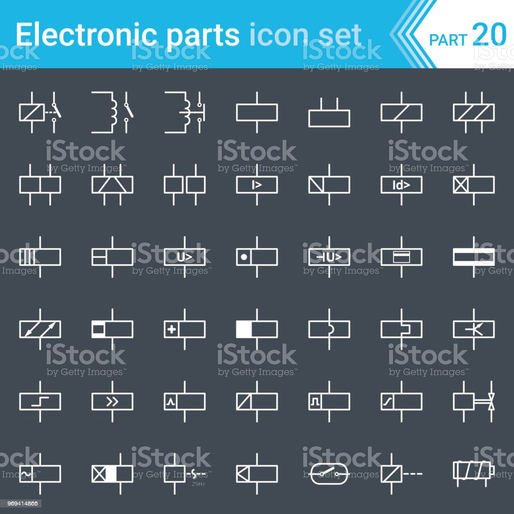 electric and electronic icons, electric diagram symbols  relays and  electromagnets  royalty-free