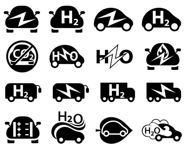 illustrazioni stock, clip art, cartoni animati e icone di tendenza di icone dei veicoli elettrici e a idrogeno - pila a idrogeno