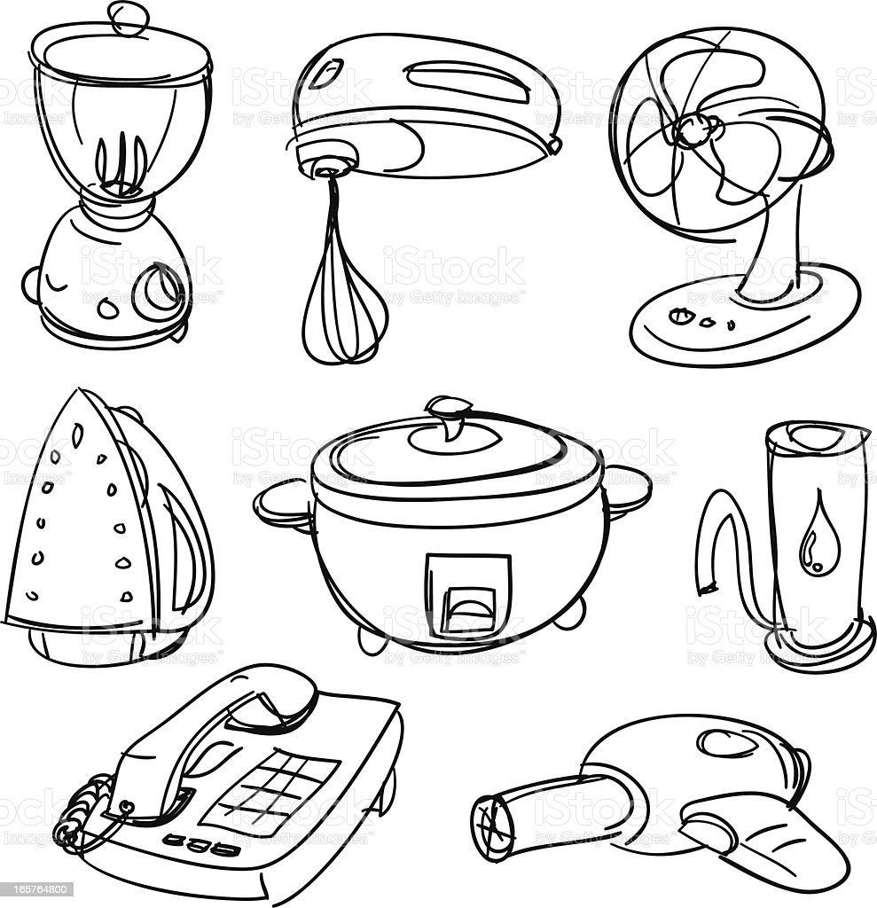 Electric appliances in black and white royalty-free stock vector art