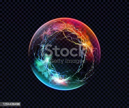 istock Electric ball. Lightning circle. Thunderbolt. Vector electric discharge effect. The light sphere in blue and purple colors isolated on a black background. Flash, plasma ball, energy or portal. Vector 1254436496