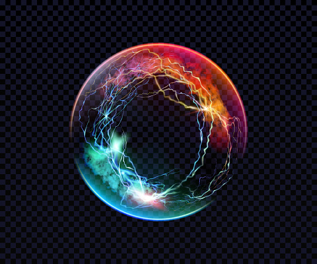 Electric ball. Lightning circle. Thunderbolt. Vector electric discharge effect. The light sphere in blue and purple colors isolated on a black background. Flash, plasma ball, energy or portal. Vector EPS10