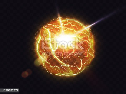 Electric ball, lightning fireball, strike impact place, plasma sphere in yellow color isolated on dark background. Powerful electrical discharge, magical energy flash Realistic 3d vector illustration