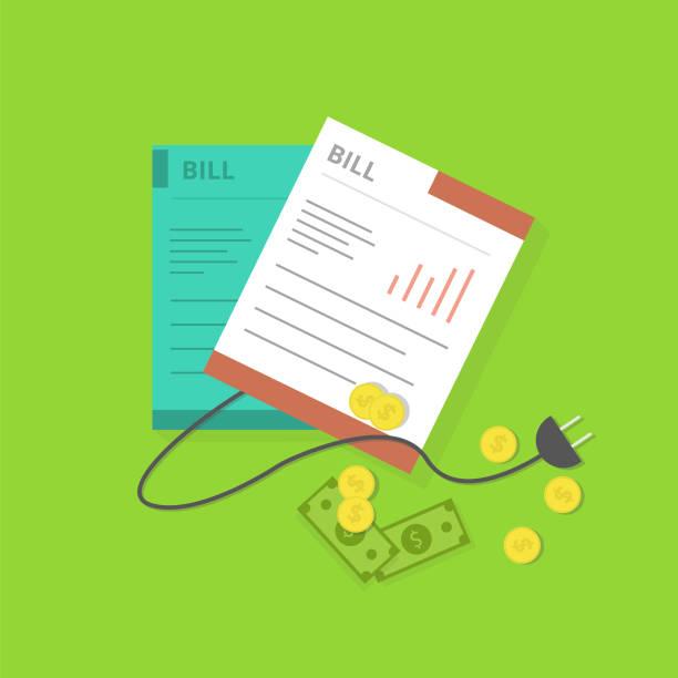 Electric Bill Electric Bill Design financial bill stock illustrations