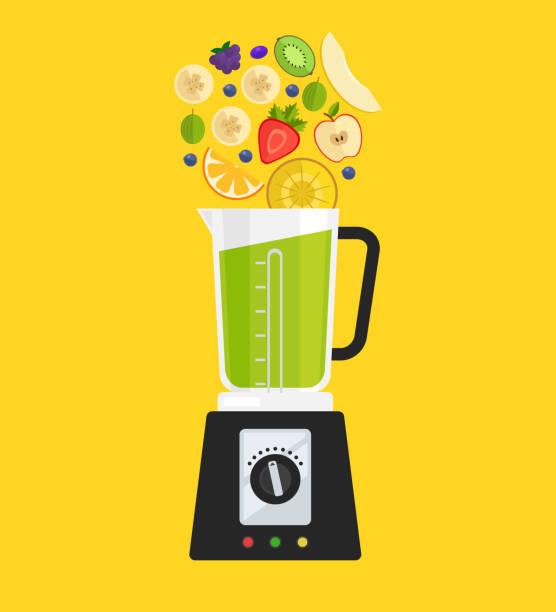 stockillustraties, clipart, cartoons en iconen met elektrische mixer mixer machine maken detox dieet sap met fruit appel banaan kiwi strawberry kruisbes meloen en ananas. gezonde ochtend ontbijt voeding concept - mixer