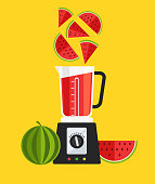 Electric blender mixer machine tool making detox diet juice watermelon sliced. Healthy lifestyle morning energy breakfast nutrition concept