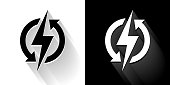 Electric Bolt   Black and White Icon with Long Shadow. This 100% royalty free vector illustration is featuring the square button and the main icon is depicted in black and in white with a black icon on it. It also has a long shadow to give the icons more depth.