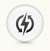 Electric Bolt Icon on simple white round button. This 100% royalty free vector button is circular in shape and the icon is the primary subject of the composition. There is a slight reflection visible at the bottom.