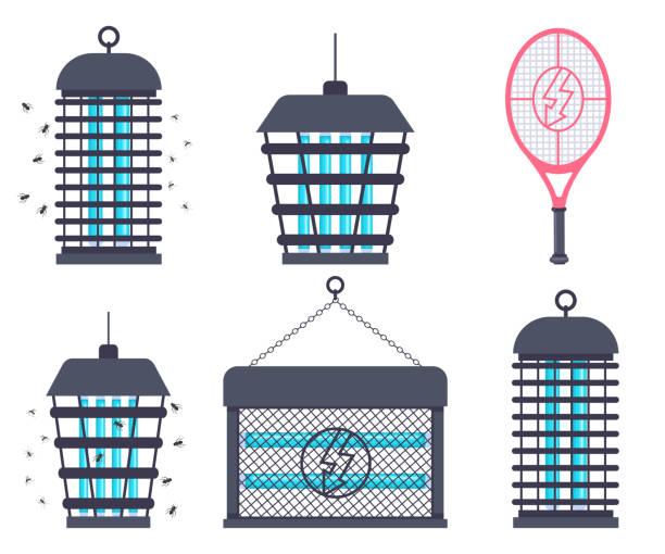 elektrische insektenvernichter, fliegenklatsche tennisschläger und mosquito trap vektor cartoon flach-satz isoliert auf einem weißen hintergrund. - mückenfalle stock-grafiken, -clipart, -cartoons und -symbole