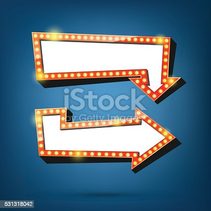 931079952 istock photo Electric bulbs billboard. Retro arrow light frames. 531318042