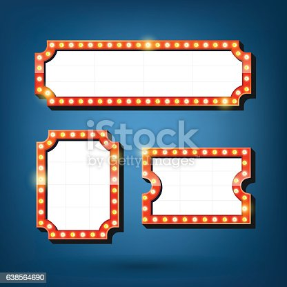 931079952 istock photo Electric bulbs billboard. Retro light frames. 638564690