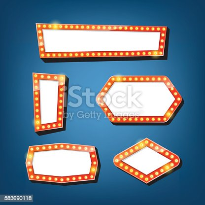 931079952 istock photo Electric bulbs billboard. Retro light frames. vector 583690118