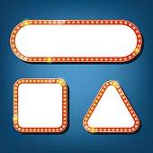 Electric bulbs billboard. square, triangle retro light frames. vector illustration.