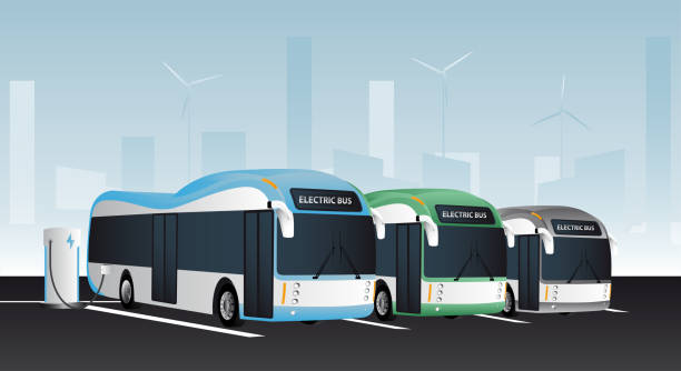 Electric buses in a row Electric buses are charged at the charging stations. electric vehicle stock illustrations