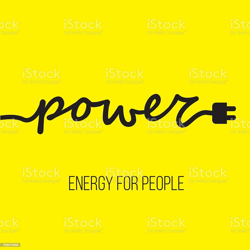 Electric cable in the form of word 'Power' with plug vector art illustration