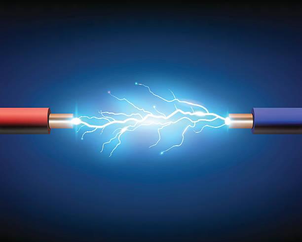 cable eléctrico con chispas - ilustración de arte vectorial