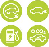 istock Electric car and charging point icons 147747128