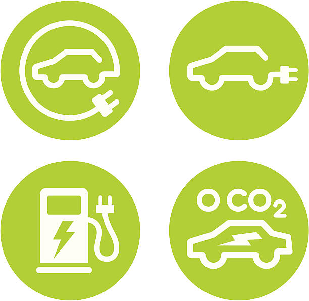 Electric car and charging point icons Series of four vector icons for electric cars and EV charging points. hybrid vehicle stock illustrations