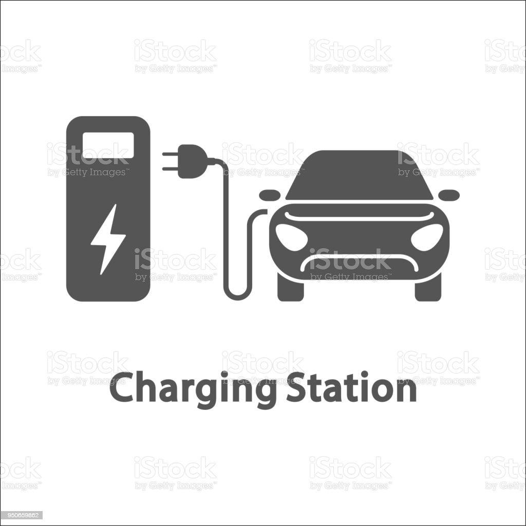 Elektroauto Und Ladestation Elektrofahrzeug Aufladen Station ...