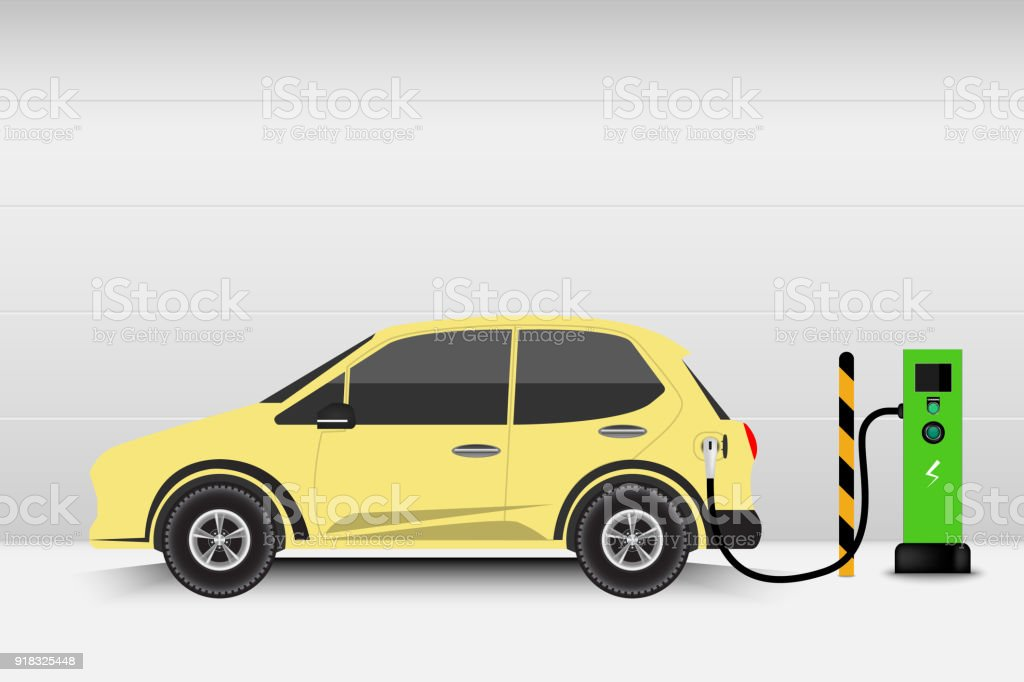 Electric car and charging station point, Technology EV, Automobile concept vector art illustration