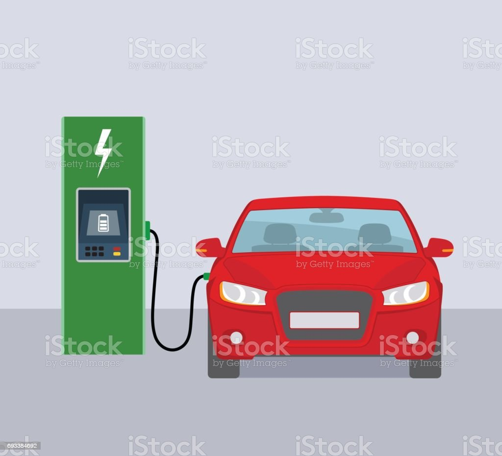 Electric car and electric charging station. vector art illustration