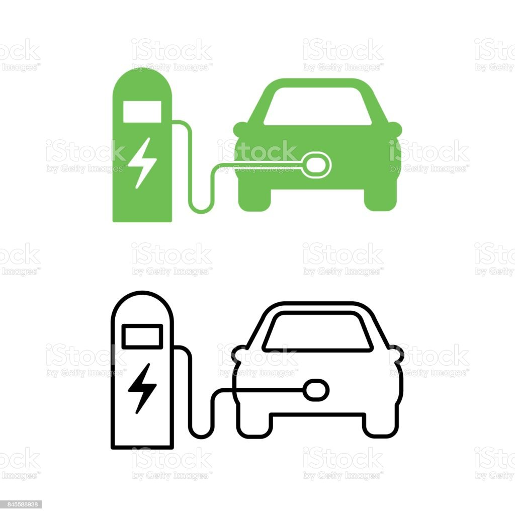 Electric car and electrical charging station icon. Hybrid Vehicle symbol. Eco friendly auto or electric vehicle concept. vector art illustration