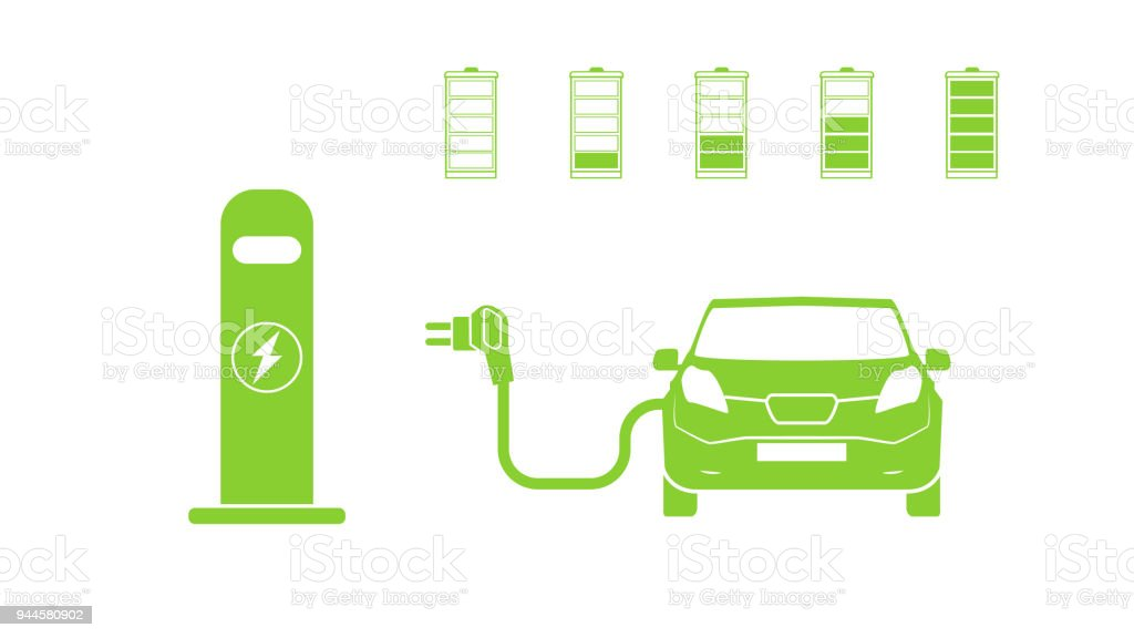 Electric Car And Electrical Charging Station Symbol Electric Car