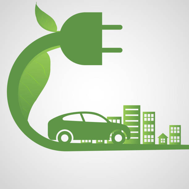 Electric car and Electrical charging station symbol icon Electric car and Electrical charging station symbol icon, Vector illustration hybrid car stock illustrations