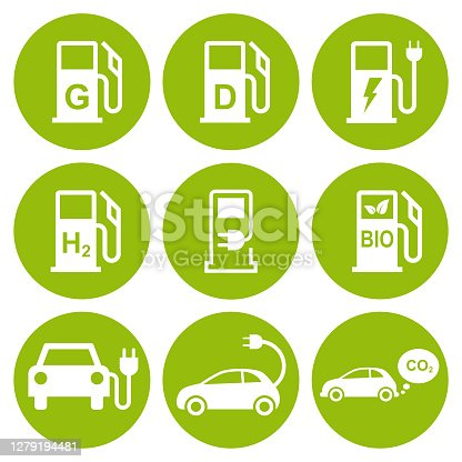 istock Electric car and fuel icons 1279194481