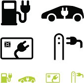 Electric car and fuel icons: electric fuel, electric vehicle, fuel credit card, car charge point