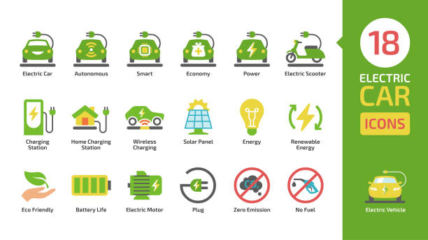 Electric car and scooter color icon set with charger station, battery power and plug. Eco friendly vehicle colorful pictogram collection. Electric car and scooter color icon set with charger station, battery power and plug. Eco friendly vehicle colorful pictogram collection. electric vehicle charging station stock illustrations